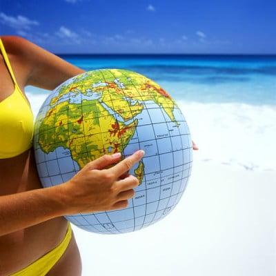 Seychellen Reisezeit doch wo liegen die Seychellen? Globus mit Seychellens Lage